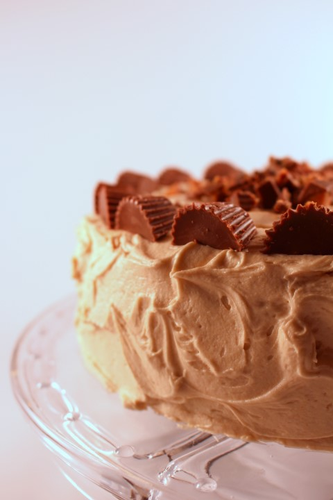 Chocolate Cake with fluffy peanut butter buttercream. This will become your go to chocolate cake recipe. Its ultra soft and moist.