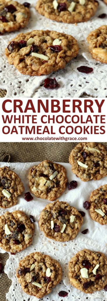 Cranberry White Chocolate Oatmeal Cookies. Fall cookie recipe with cranberries