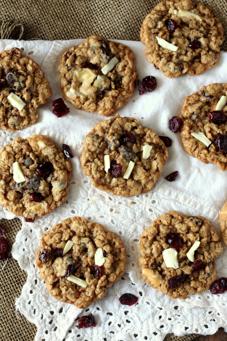 Cranberry White Chocolate Oatmeal Cookies - Chocolate with Grace