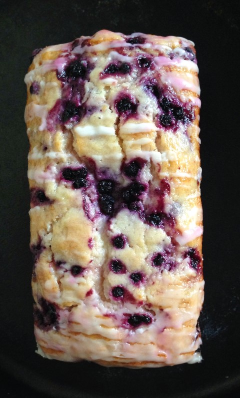 Lemon Blueberry Bread ~ A soft, moist bread studded with blueberries and brightened with lemon, drizzled with a sweet lemon glaze ~ Chocolate with Grace