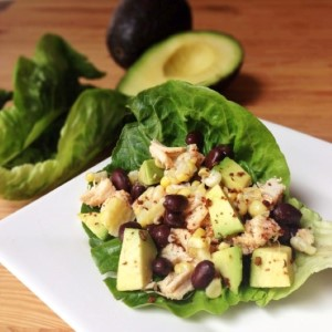 Southwestern Avocado Chicken Lettuce Wraps