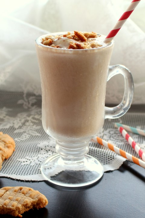Peanut Butter Cookie Milkshake. A thick vanilla milkshake featuring all the peanut buttery goodness of the classic cookie.