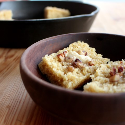 Corn Bread with Whipped Maple Pecan Butter. A classic, slightly sweet cornbread topped with fluffy maple, pecan butter.