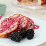Lemon Blackberry Yogurt Cake. An ultra moist cake featuring fresh blackberries and sunshiney lemon. A perfect taste of summer.