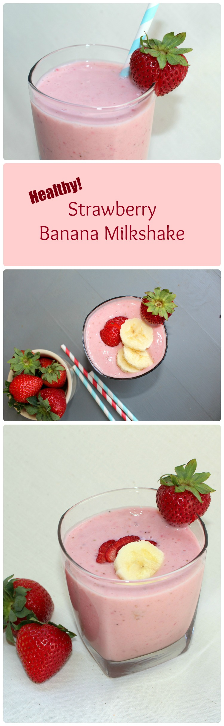 This simple five ingredient strawberry banana milkshake is a healthy treat. With lots of protein, it makes a perfect breakfast.