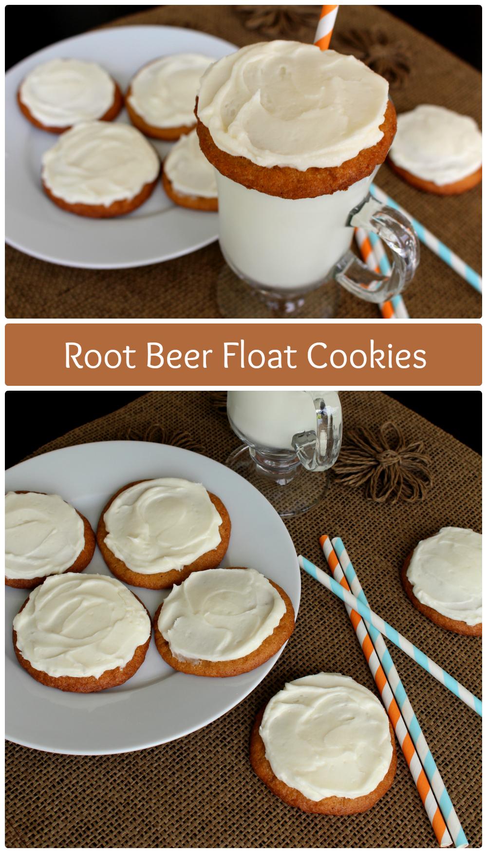 Root Beer Float Cookies. Soft root beer cookies spread with creamy root beer buttercream