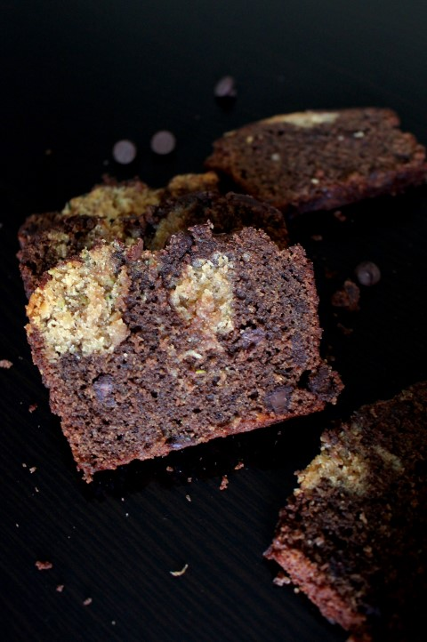 Peanut Butter Swirled Chocolate Zucchini Bread