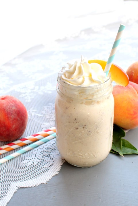 Brown Butter Peach Milkshake | www.chocolatewithgrace.com | #peach #milkshake