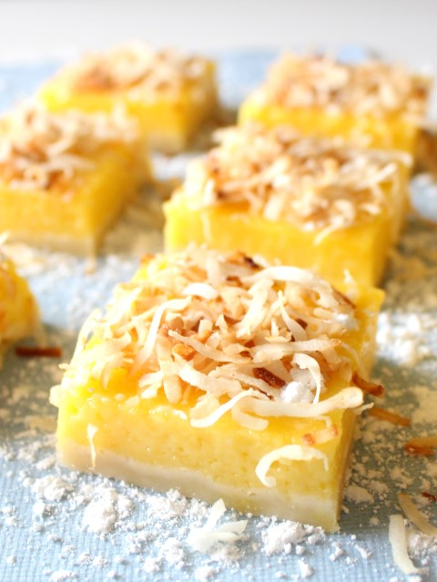 Mango Lemon Bars with Toasted Coconut | www.chocolatewithgrace.com | #mango #lemon #bars #recipe