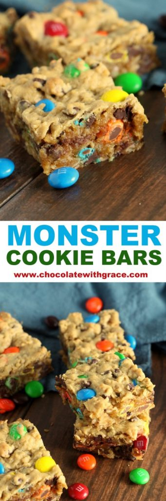 Monster Cookie Bars are chocolate, peanut butter happiness!