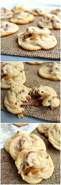 Caramel Stuffed Pretzel Cookies - soft cookies loaded with pretzels and stuffed with caramel | www.chocolatewithgrace.com | #cookie #recipe #pretzel #caramel