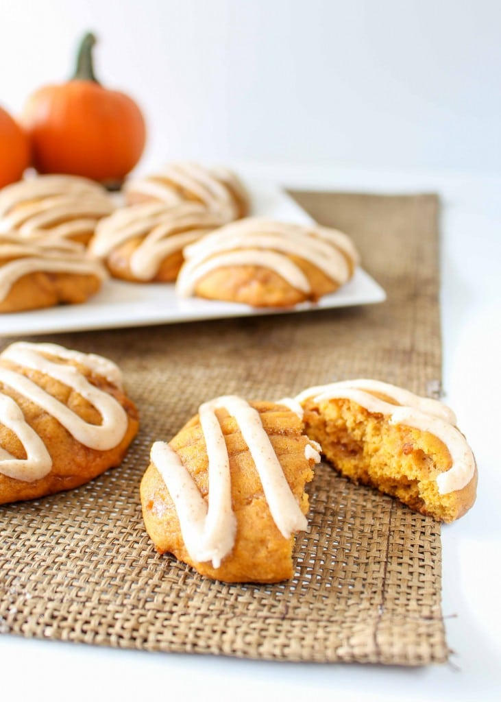 Toffee filled pumpkin cookies are a fall favorite!