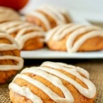 Soft, chewy, Pumpkin Toffee Cookies with Browned Butter Glaze