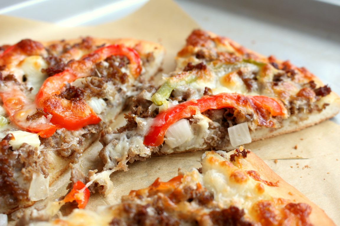 hearty pizza made with steak, cheese, peppers and onions.