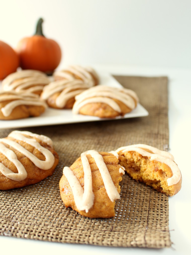 Pumpkin Toffee Cookies with Brown Butter Glaze - Soft, moist pumpkin cookies with sweet toffee and brown butter glaze. Probably my favorite cookie ever!