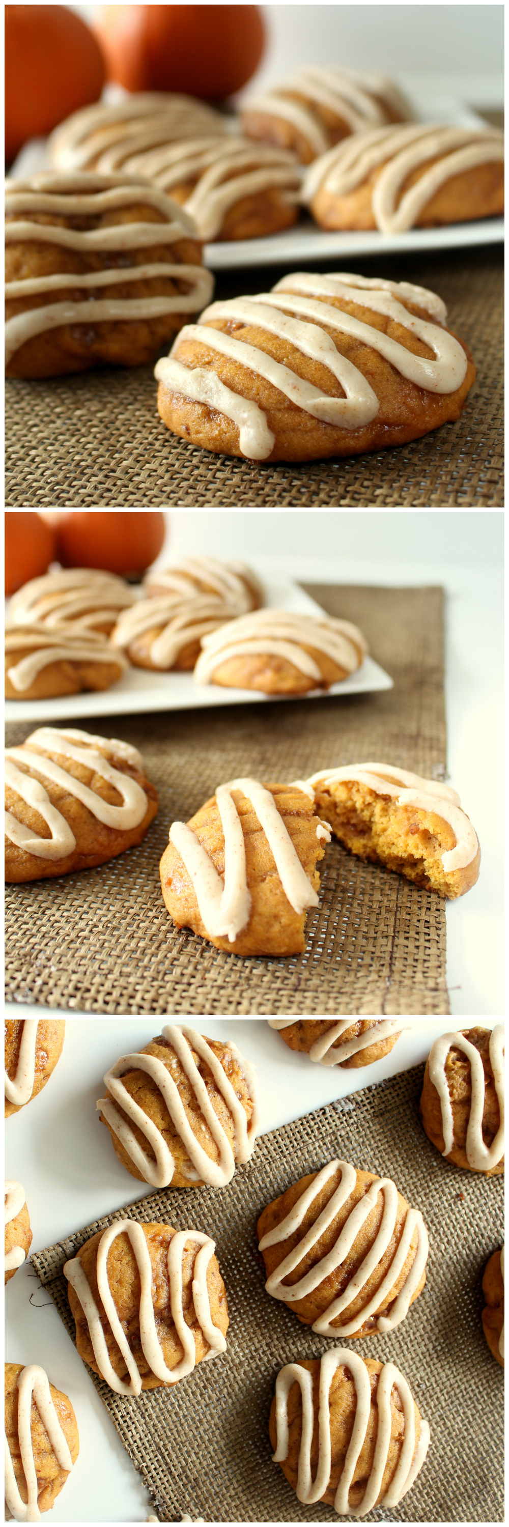 Pumpkin Toffee Cookies with Brown Butter Glaze