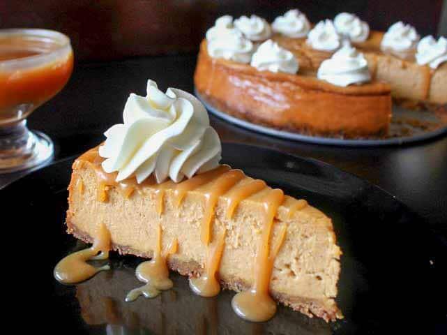 Salted Caramel Pumpkin Cheesecake is a Thanksgiving favorite
