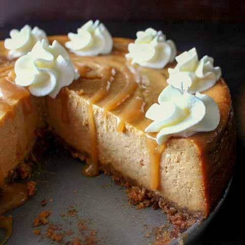 Pumpkin Cheesecake with Salted Caramel