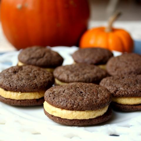Chocolate Sandwich Cookies with Pumpkin Spice Buttercream