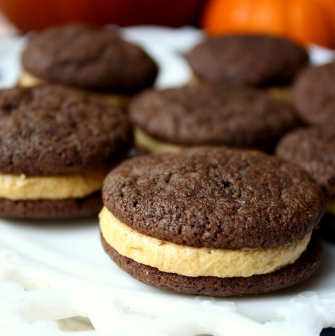 Chocolate Sandwich Cookies with Pumpkin Spice Buttercream - An ultimate fall treat!  |  Chocolate With Grace