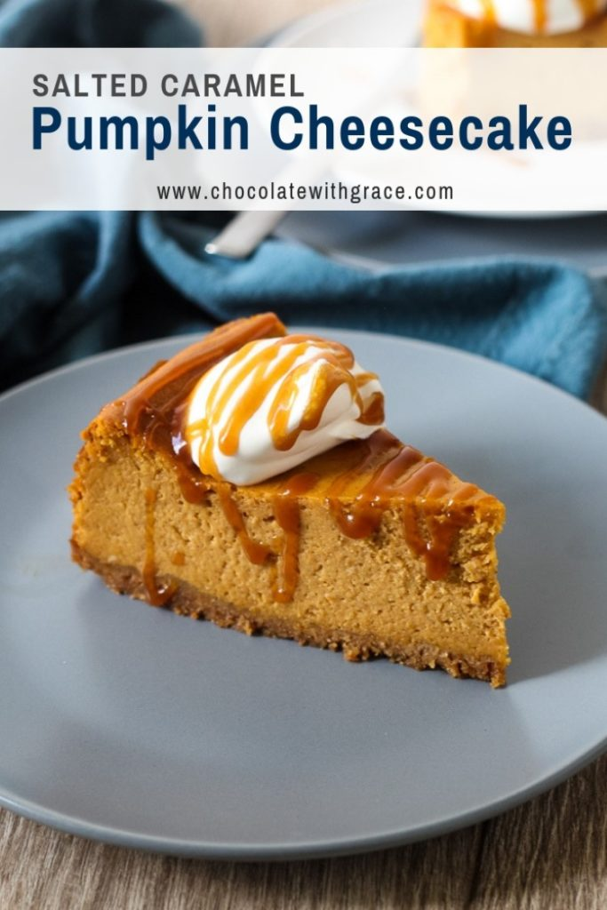 Salted caramel pumpkin cheesecake with whipped cream
