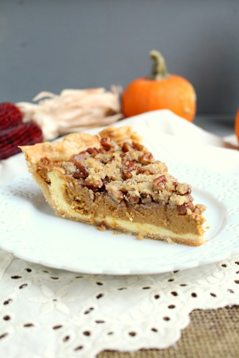Pumpkin Cheesecake Pie with Pecan Streusel (2)
