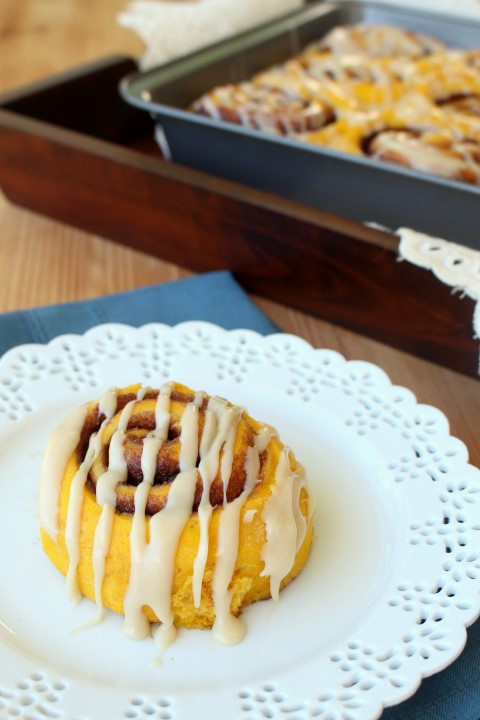 Pumpkin Cinnamon Rolls - Soft and fluffy pumpkin cinnamon rolls with cream cheese frosting