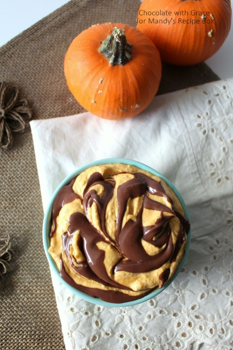 Nutella Swirled Pumpkin Cheesecake Dip. Perfect for fall parties.