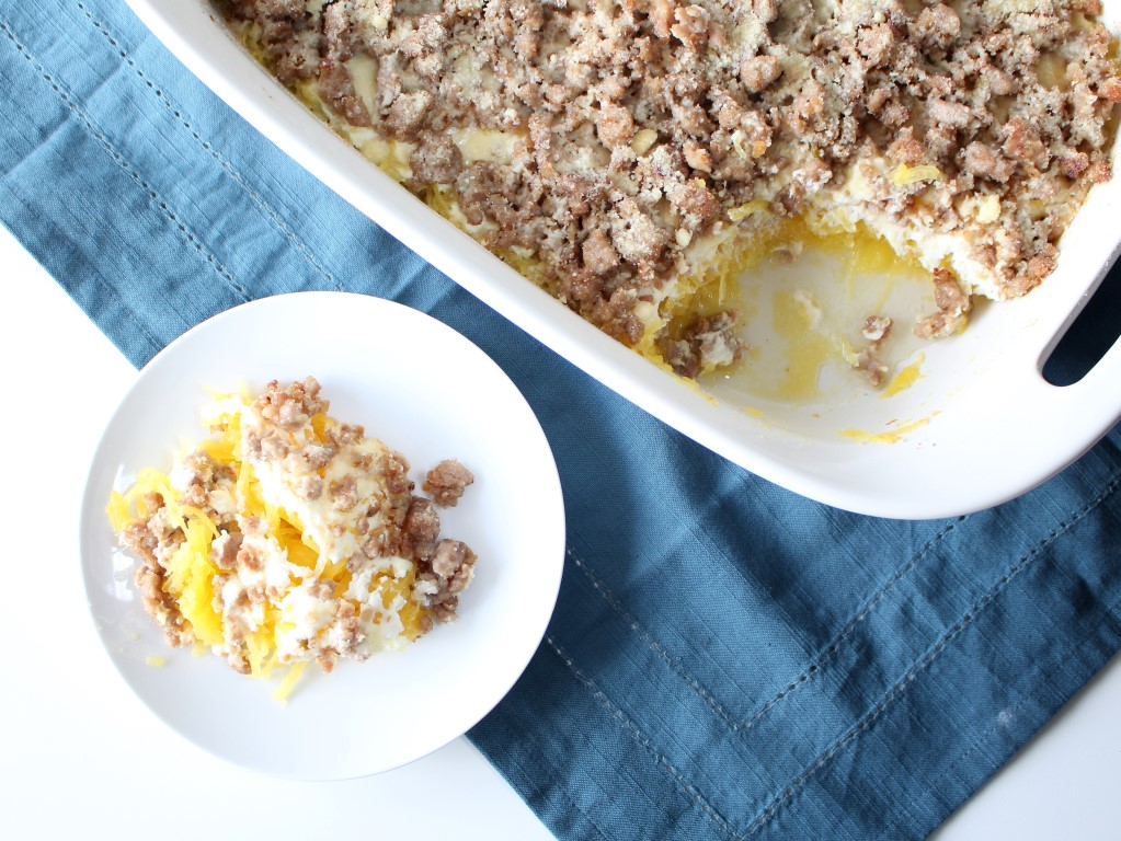 This Sausage Spaghetti Squash Casserole only requires 5 ingredients and is deliciously creamy thanks to ricotta cheese.