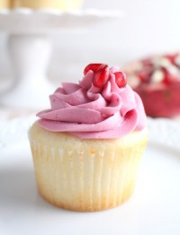The best white cupcake with tangy, creamy pomegranate buttercream makes these cupcakes perfect for a special occasion.