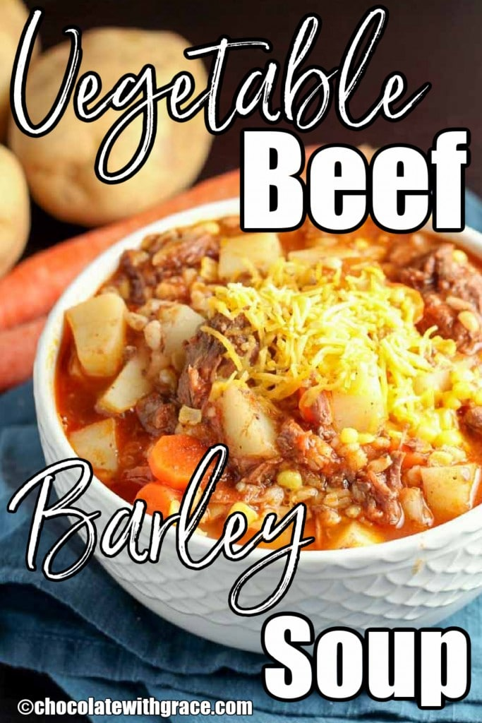 Vegetable Beef Barley Soup is a hearty fall favorite.