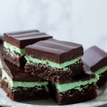 a stack of mint brownies