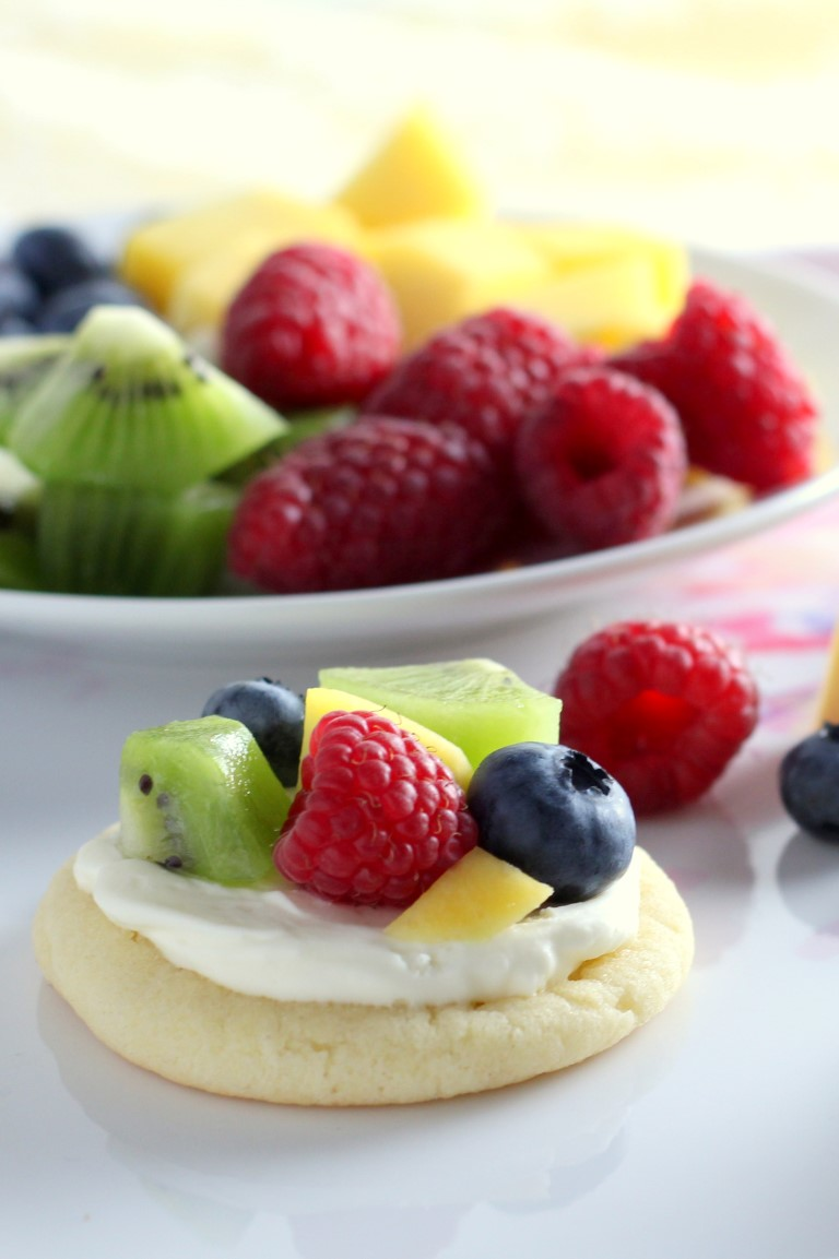 Mini Sugar Cookie Fruit Pizzas start with a soft sugar cookie topped ...