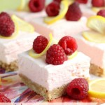 Raspberry Lemon No Bake Cheesecake Bars Text