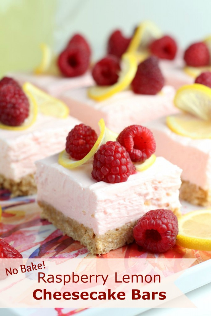 These Raspberry Lemon No Bake Cheesecake Bars require just 4 ingredients for the cheesecake layer that is chilled on a simple graham cracker crust. #PourMoreFun #ad