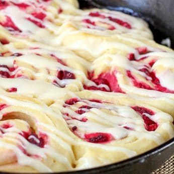 Raspberry Rolls with Cream Cheese Icing