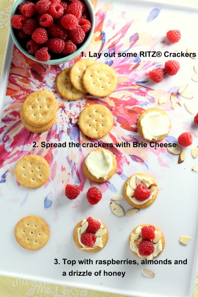 These Raspberry, Brie and Almond topped RITZ® crackers are an easy, but fun appetizer that feels fancy.