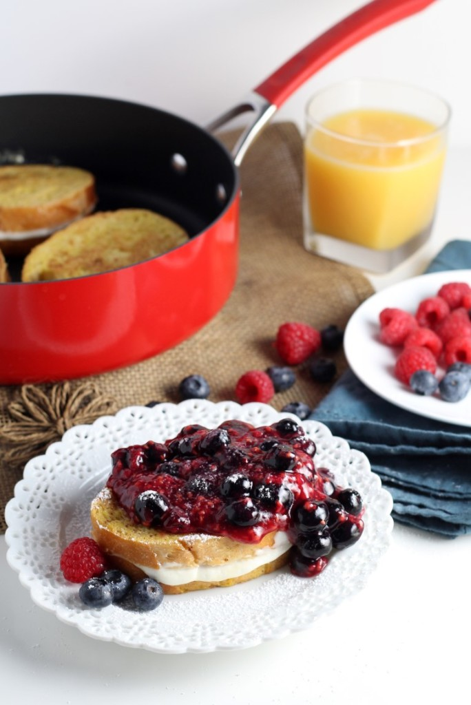Coconut Cheesecake Stuffed French Toast A fun 4th of July brunch idea, this French Toast recipe features a tangy, coconut cheesecake filling and a chunky berry sauce that's sure to impress everyone.