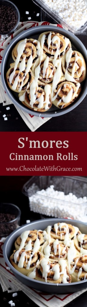 These S'mores cinnamon rolls are full of melty chocolate, gooey marshmallows and graham cracker goodness.
