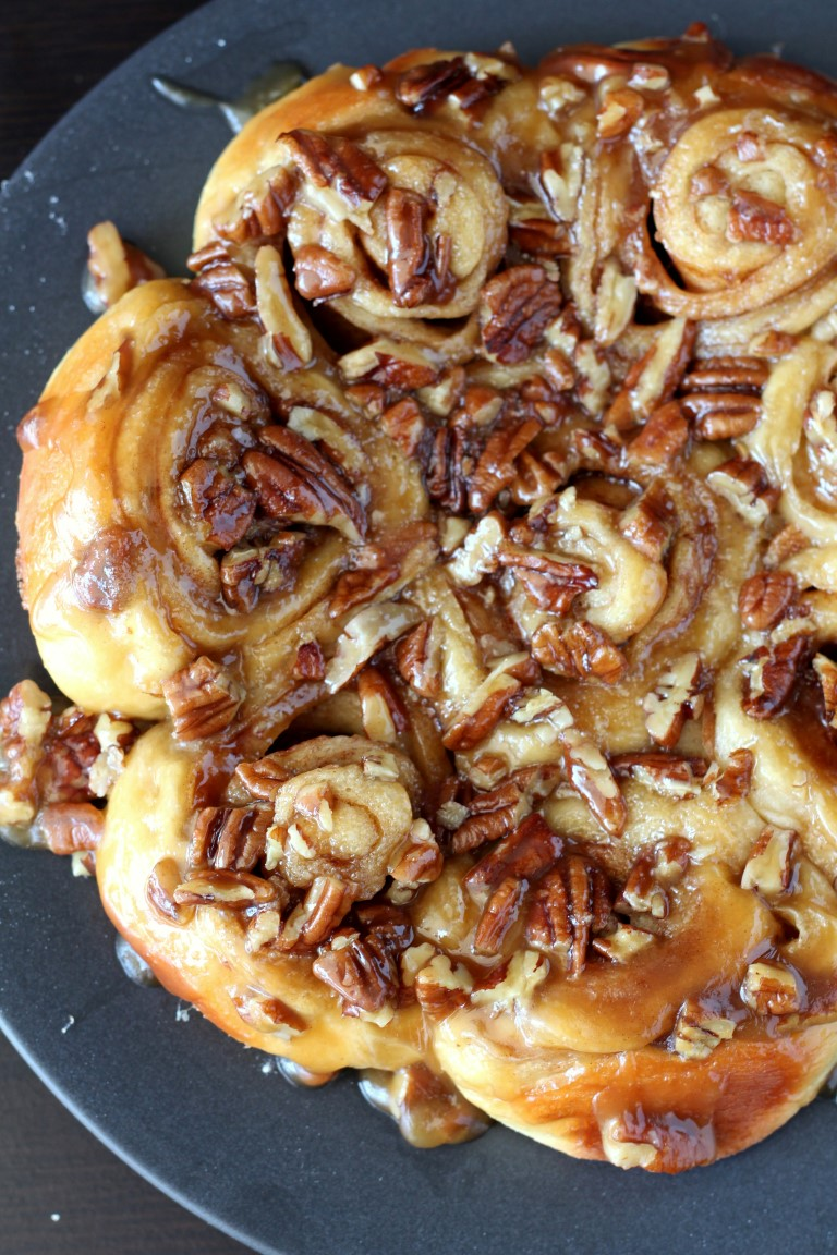 Soft cinnamon rolls covered in a sweet brown sugar, pecan topping ...