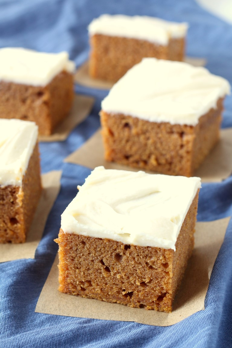 Pumpkin Bars with Cream Cheese Frosting - Chocolate with Grace