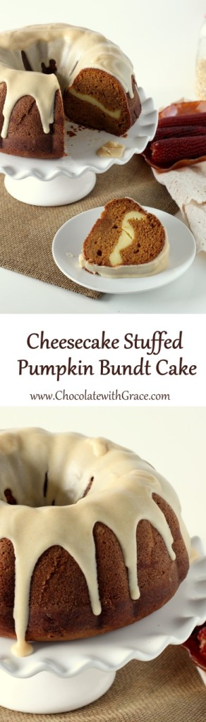 A moist pumpkin bundt cake, baked with a cheesecake layers and drizzled with browned butter frosting. Thanksgiving dessert ideas.