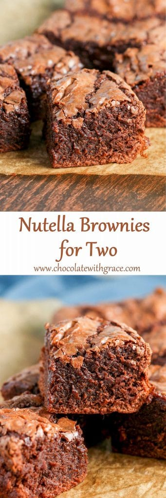 Nutella Brownies for Two - small batch recipe