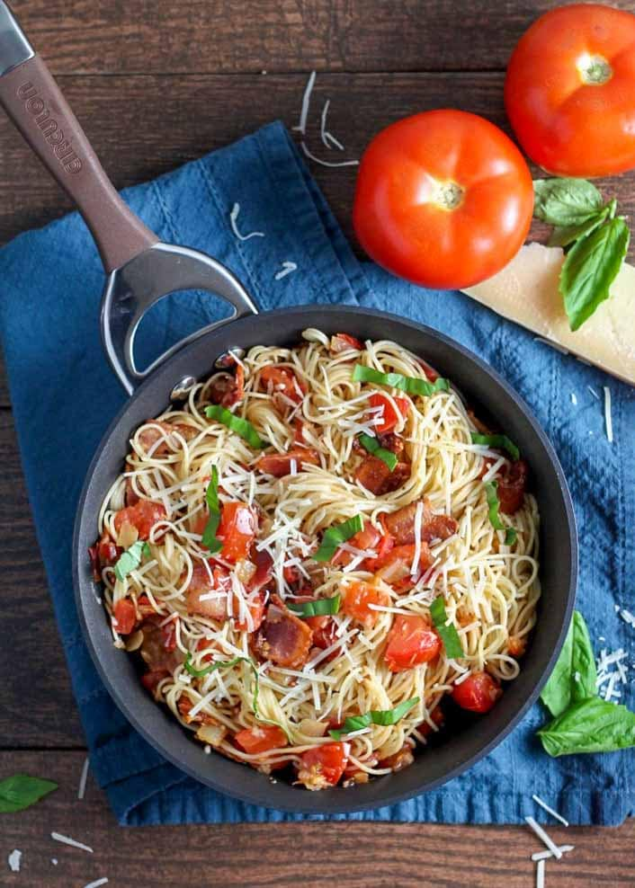 Capellini with tomatoes and bacon is a favorite for pasta night.