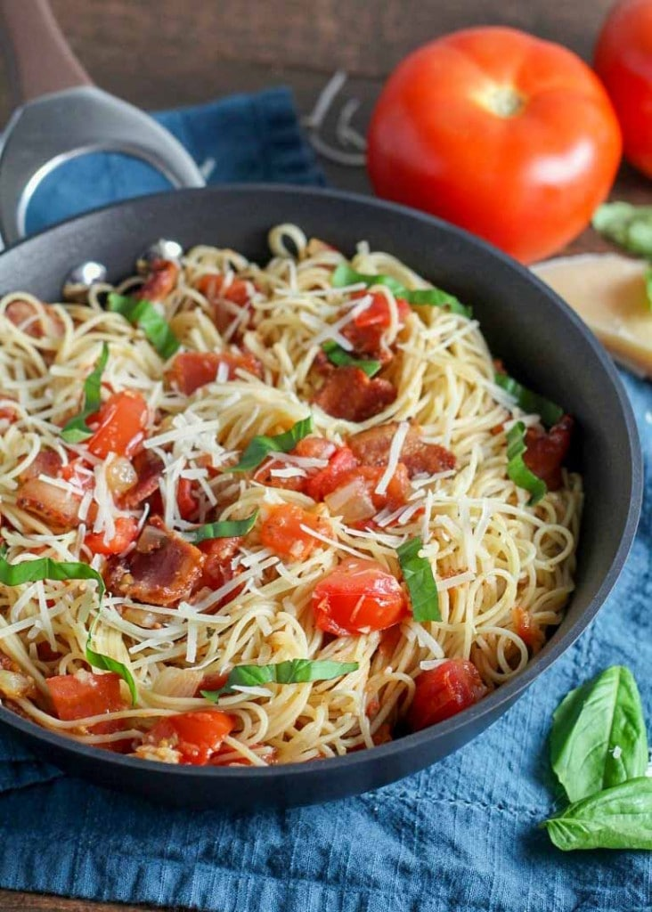 Pasta night is made easy with this Tomato Bacon Pasta.