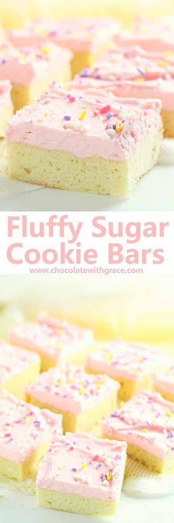 Sugar Cookie Bars with fluffy frosting and sprinkles