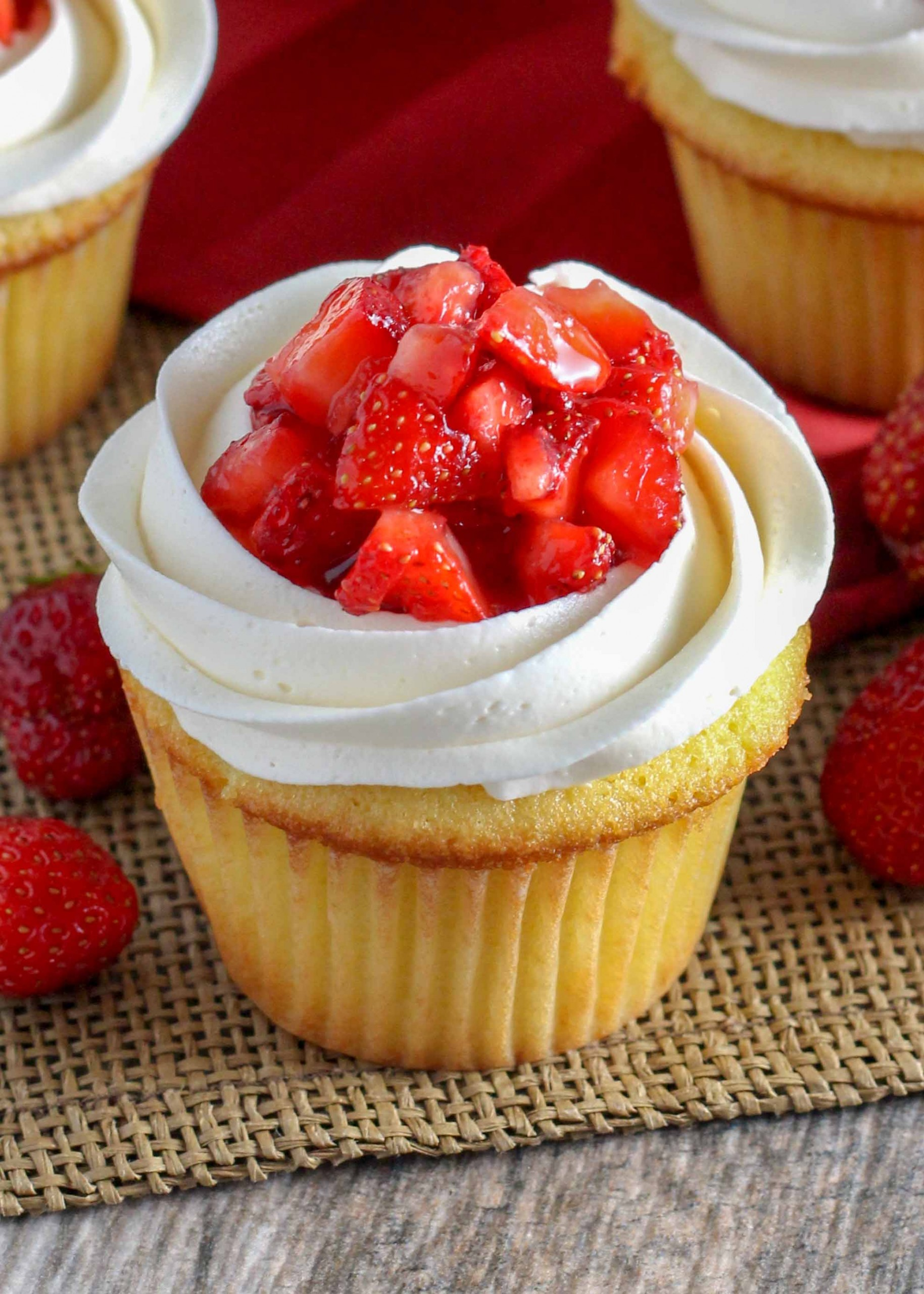 Strawberry Shortcake Cupcakes are a everything you love about the classic dessert in a handheld treat!