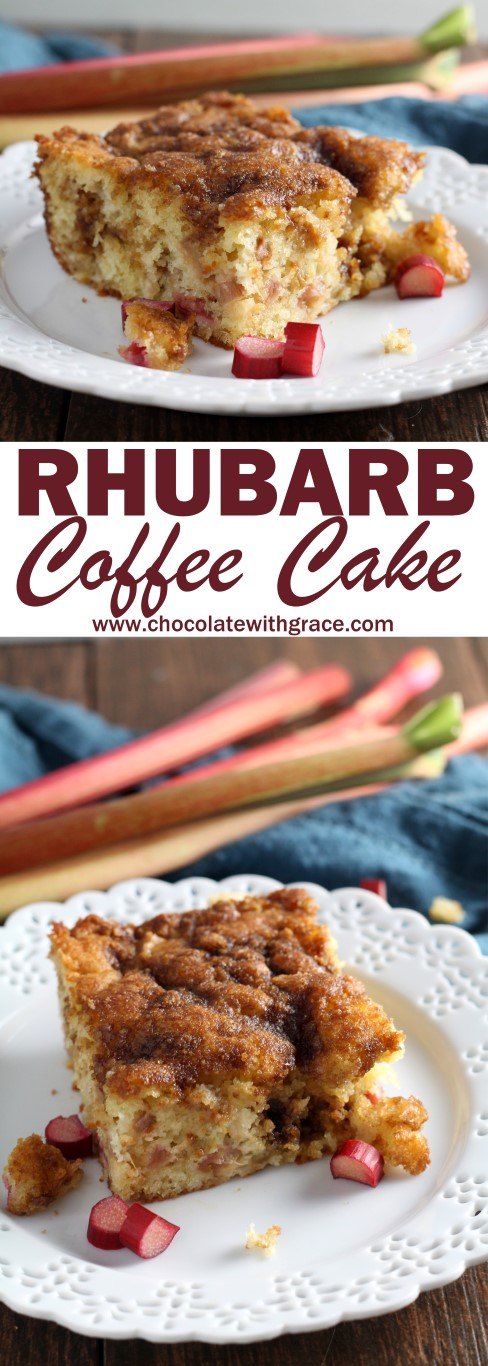 An easy way to use up extra rhubarb, this rhubarb coffee cake is the ...