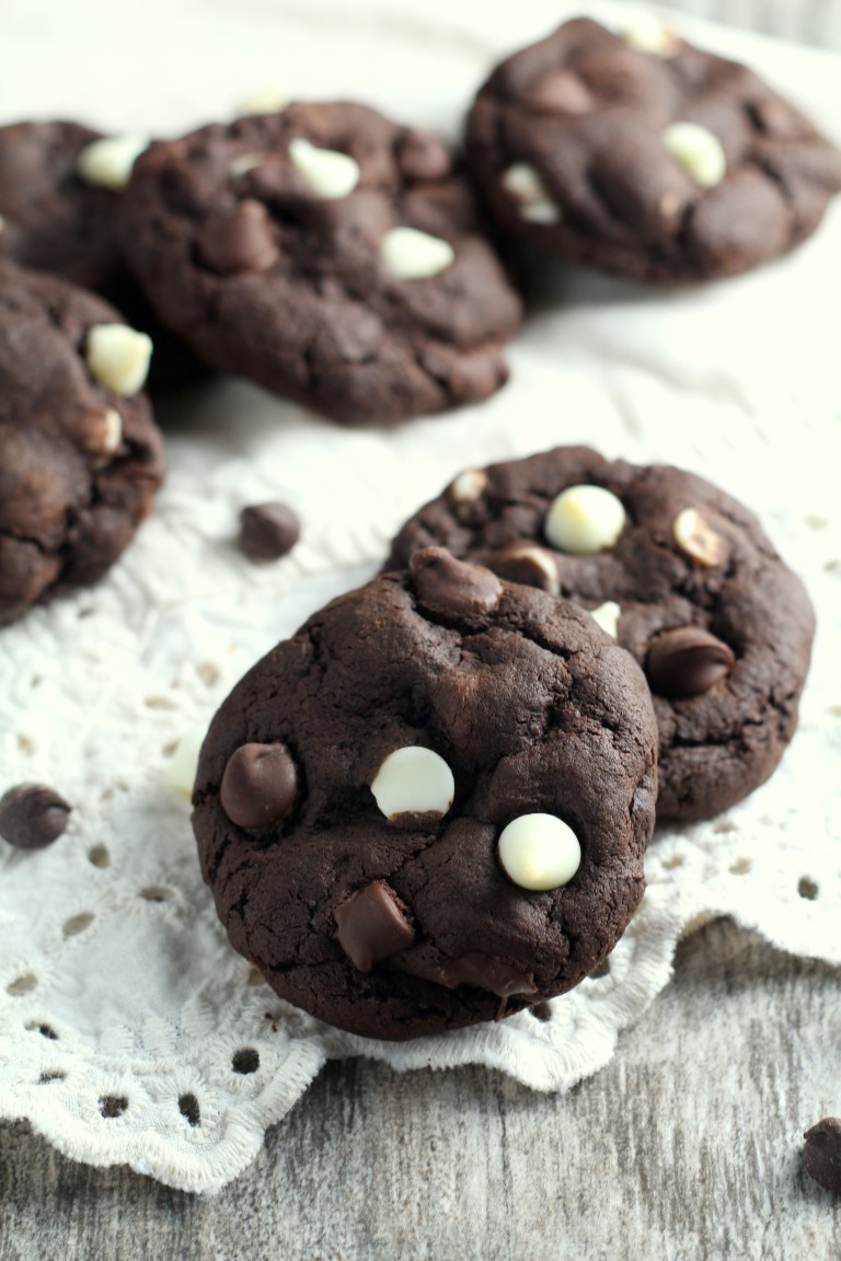 Triple Chocolate Chip Cookies - Chocolate with Grace
