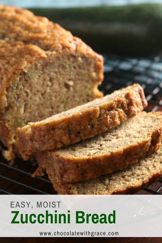 Easy moist zucchini bread, this is the recipe my family always makes every summer with extra zucchini. It is moist and has great cinnamon flavor.
